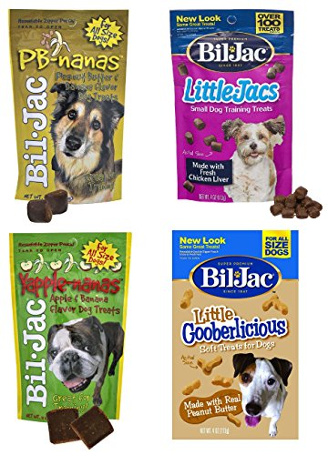 (Bil-Jac Treats 4 Bag Combo Pack - Peanut Butter Nanas Dog Treats 4oz, Liver Treats 4oz, Yapple-Nanas 4oz, and Little Gooberlicious 4oz)