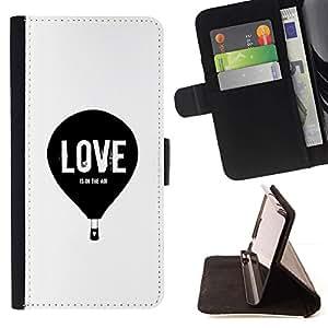 For Samsung Galaxy S6 Active G890A Case , Amor Hot Air Balloon Blanco Negro minimalista- la tarjeta de Crédito Slots PU Funda de cuero Monedero caso cubierta de piel