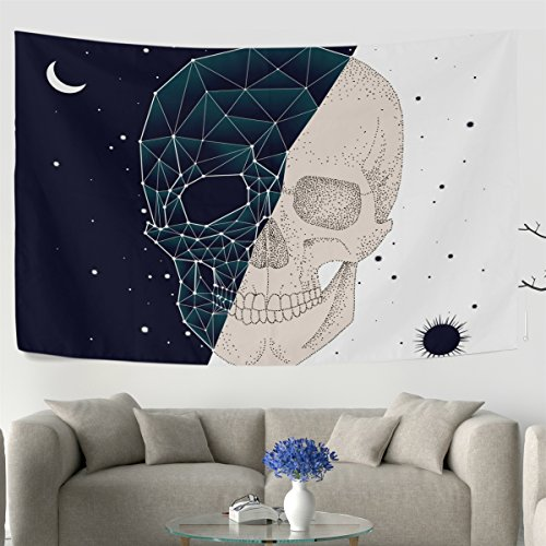 WellLee Day Night Contrast Constellation Skull Wall Tapestry Dorm Throw Bedroom Living Room Decorative Window Doorway Hanging - Outfitters Urban Cost Shipping