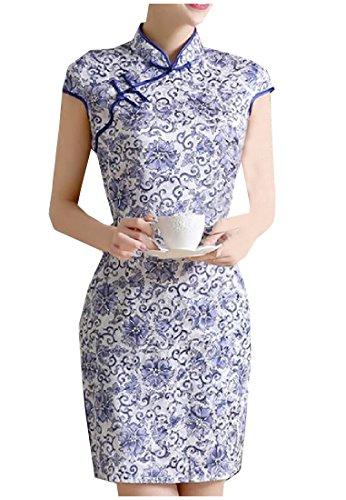 Fseason-Women Floral Stand Collar Chinese Cheongsam Split Short Dress 3 S ()