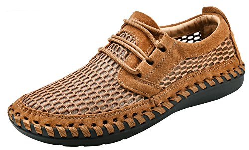 Louechy Men's Notus Mesh Breathable Walking Loafers Casual Hiking Shoes 8701-44 Ochre