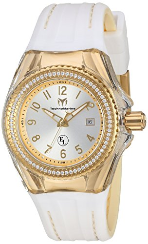Technomarine Women's 'Eva Longoria' Swiss Quartz Stainless Steel and Silicone Casual Watch, Color:White (Model: TM-416025)