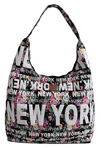 New York Floral Cotton Hobo Large Shoulder Bag (Black)