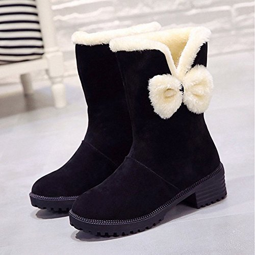 Shoes Boots Black Casual Comfort Women's Heel Boots Snow Calf Red HSXZ Brown Chunky Boots Fall Winter Toe ZHZNVX PU Round Black for Mid gSBqEaqwx