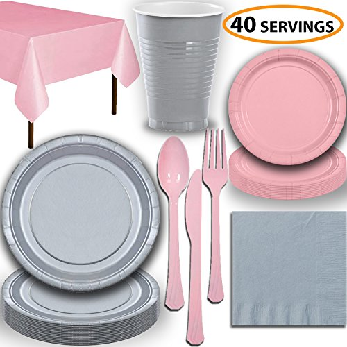 (Disposable Party Supplies, Serves 40 - Silver and Light Pink - Large and Small Paper Plates, 12 oz Plastic Cups, Heavyweight Cutlery, Napkins, and Tablecloths. Full Two-Tone Tableware Set)
