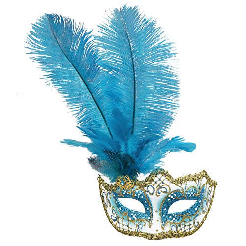 Blue Feather Costumes Mask - Masquerade Mask Halloween Ball Mask Christmas