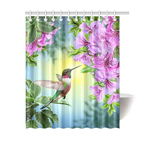 Hummingbirds Shower Curtain Art With Colibri Bird And Tree Branch Fuchsia Flower Romantic Springtime Tropics Nature Bathroom Set 60 X 72 Inches