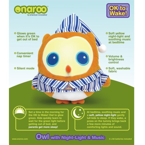Patch Products LLC OK To Wake! Owl With Night-Light & Music, Nap Timer