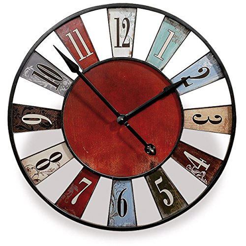 The Iconic Carnival Wheel Wall Clock, Distressed Rustic Patina, Analog, Floral Details, Made by Hand, Shabby Vintage Style, Over 2 Ft Diameter, 1 AA Battery (Not Included) By Whole House Worlds by Whole House Worlds