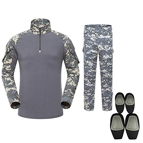 Outdoor Woodland Hunting Shooting Shirt Battle Dress Uniform Tactical BDU Set Combat Clothing Camouflage US Uniform with Kneepad Elbow Pads - ACU - XXL