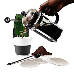 French Press Coffee Maker Pot Carafe and Presser Plus Bonus Metal Scoop/Bag Clip, Java Spoon and 4 Stainless Steel Filter Screens | Double Filtration Plunger | Value Bundle by Chef Amore | 1 Liter by Chef Amore