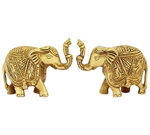 ITOS365 Brass Trunk Up Elephant Statues Set of 2 - Showpiece Metal Statue - Lucky Figurine- Home Décor Gifts Item ()