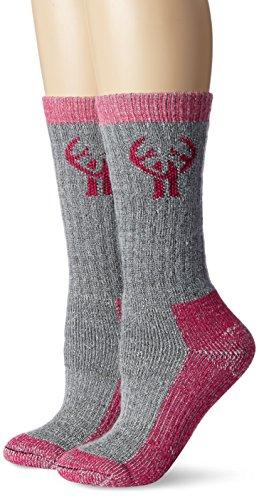 2 Pack Huntworth Heavyweight Wool Blend Boot Sock, Grey/fuchsia, Medium