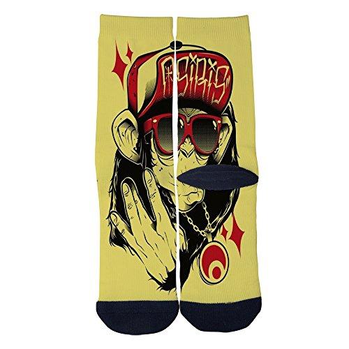 Hiphop monkey Socks Colorful Patterned Custom Crew Socks Men's Women's Socks Comfortable Socks Black by Colourf Feng