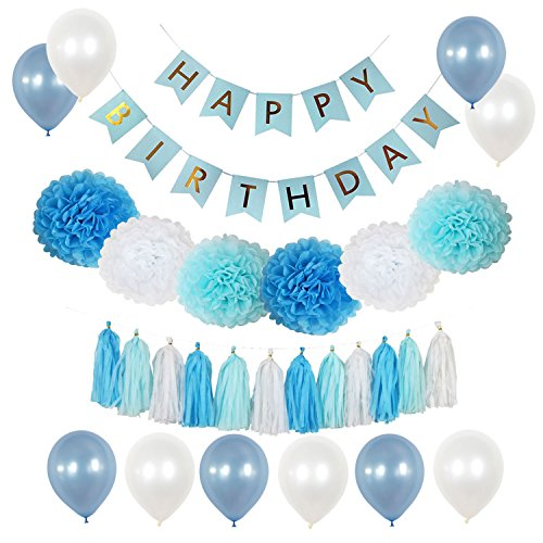 yotruth Blue Birthday Party Decorations with Happy Birthday Banner Pompoms and Balloons for Adults and Kids Birthday Party Decorations ()