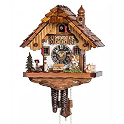 1 Day Chalet Black Forest Cuckoo Clock with Young Kissing Couple by Hönes