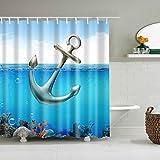 Anchor Shower Curtain ABxinyoule Anchor Ocean Shower Curtain for Bathroom Decor Fabric Waterproof Mildew Bath Accessory