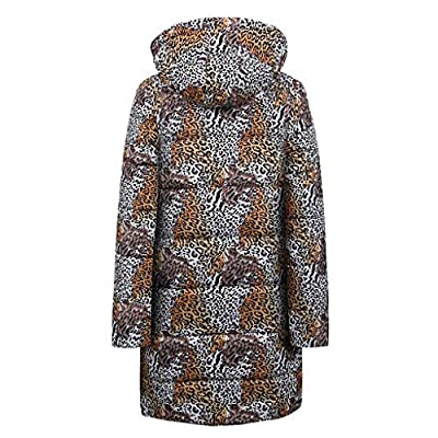 Mlide Womens Leopard Print Padded Coat,Fur Collar,Winter Long Down Cotton Parka Hooded Jacket Outwear by Mlide