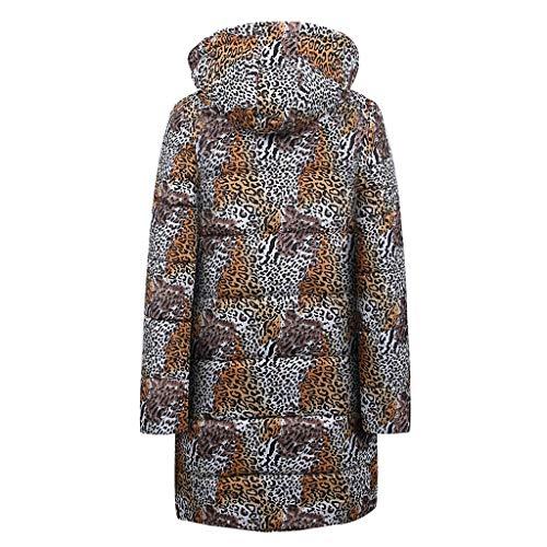 Vestes manteaux fermeture bas blanc longues à de rembourrée plus femmes glissière à longues chaudes d'hiver de Parkas léopard Mambain de veste le manches tailles vers capuche de élégantes avec et manteaux r1rgqa