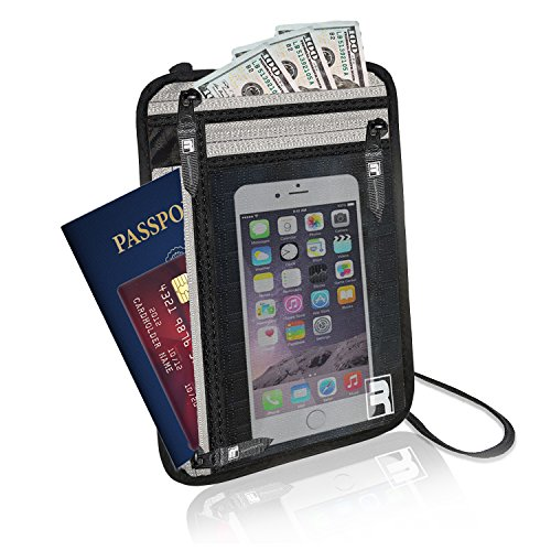 RFID Neck Wallet Travel Passport Holder Stash Hidden Pouch Money Safe Bag Case (Pocket One Marathon Top Unisex)