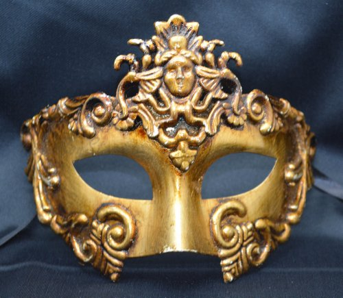 Roman Couples Costumes - NEW Mens Mythological All Gold Madusa God Greek Style Party Mask Mens Mythological Greek Style Party Mask Mardi Gras Party Halloween Ball Prom by BK