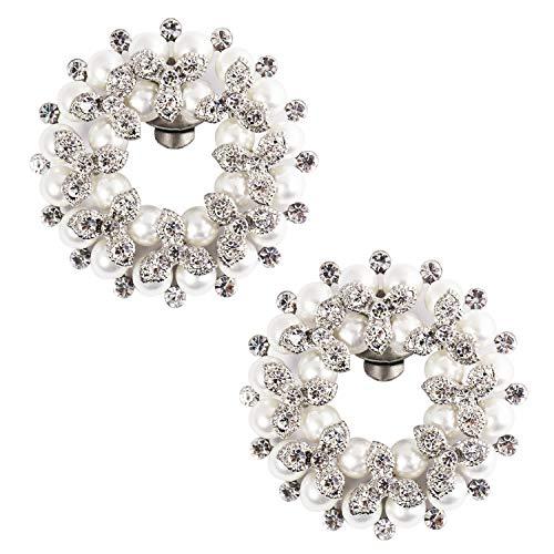 ElegantPark Shoe Clips Pearl Rhinesone Decorative