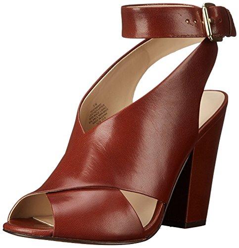 Nine West Women's Ombray Leather Heeled Sandal, Dark Natural, 37 B(M) EU/5 B(M) UK