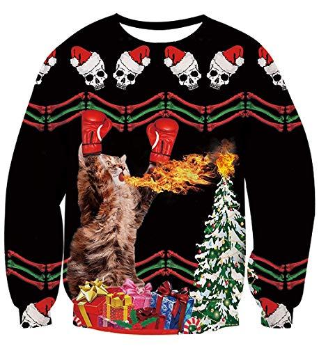 Fanient Unisex Funny 3D Print Ugly Christmas Casual Long Sleeve Pullover Sweatshirt Sweater Jumper Shirts(Funny Cat Medium)