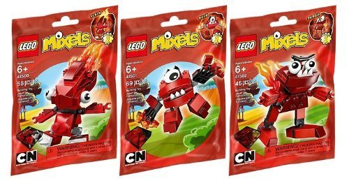 LEGO Mixels Red Infernite 3 Pack - Flain 41500, Vulk 41501, and Zorch 41502 ()