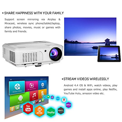 Wireless Bluetooth HD Projector 3200 Lumen Android 4.4 LCD Image System Home Theatre Projectors Support 1080p HDMI Airplay Screen Mirroring Multimedia LED Lamp 50,000hrs for Outdoor/Indoor Movie by EUG (Image #1)