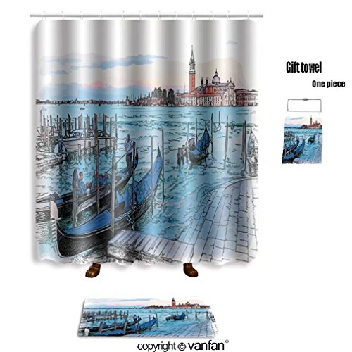 vanfan bath sets with Polyester rugs and shower curtain venice italy quay piazza san marco gondolas o shower curtains sets bathroom 48 x 72 inches&23.6 x 15.7 (Free 1 towel - Outlets At San Marcos