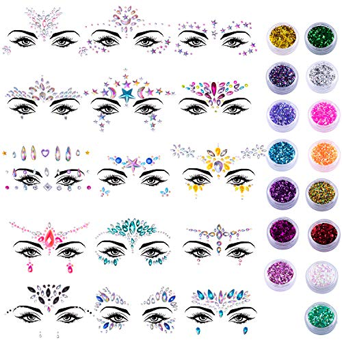 Temporary Tattoos Crystals - SIQUK 15 Sets Face Jewels Stick on Face Gems Glitter Mermaid Crystal Stickers with 15 Boxes Chunky Face Glitter Temporary Tattoos for Festival Rave Carnival Party