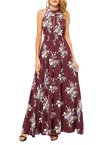 BerryGo Women's Chic Sleeveless Backless Halter Floral Print Maxi Dress Polyester Wine (Halter Womens Maxi Dress)