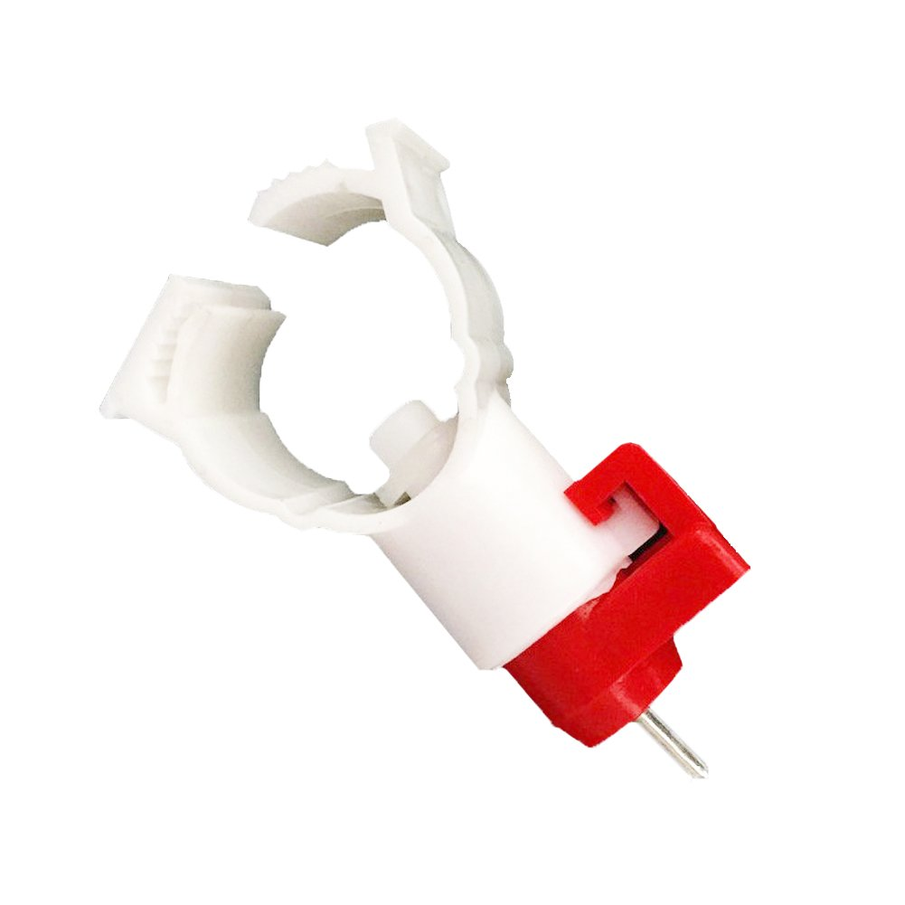 ADHERETOFLY 20 Pcs Automatic Poultry Water Feeder Tool Chicken Hen Nipple 360 Degree Water Drinker Supplies (White & Red 1/2'')