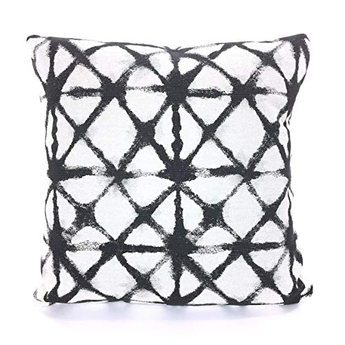 Designer Pillow Covers Charcoal Black Basketweave Cushions Geometric Shibori Heavy Weight Flax Sofa Bed Pillows Various -