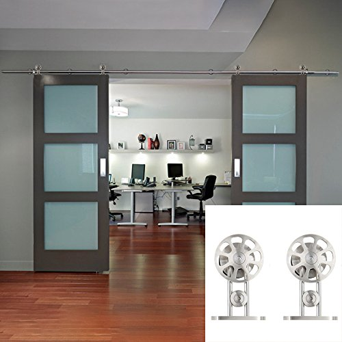 Hahaemall 8FT Wall Mount Modern Decorative Stainless Steel Sliding Double Wood Doors Track Roller Hardware Kit Heavy Bearing Hanging Rail Set