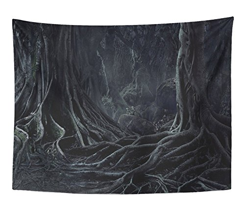Emvency Tapestry Spooky Halloween Dead Mysterious Forest Creepy Trees with Twisted Roots and Two Wall Hanging Polyester Fabric for Bedroom Living Bedspread Room Dorm Decorations 60x80 Inches ()