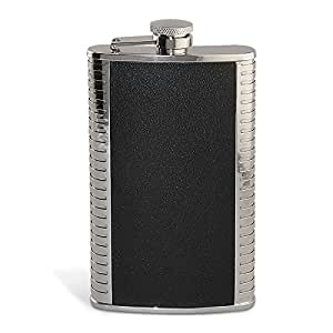 Epic Products Bonded 9-Ounce Leather Flask, 6.5-Inch, Silver/Black