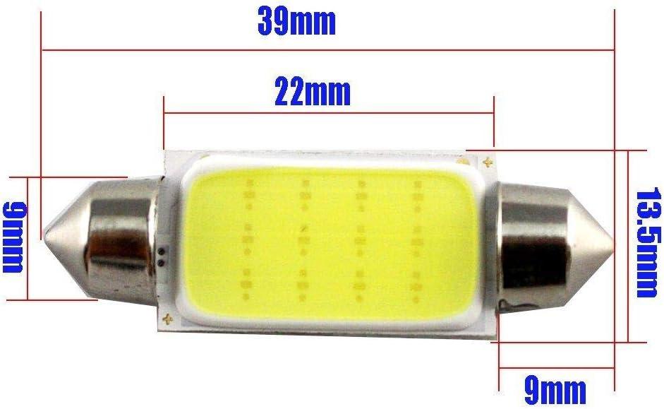 10pcs 31mm 36mm 39mm 41mm 12 chips COB LED DC 12V 8W White Color Car Dome Light-31mm