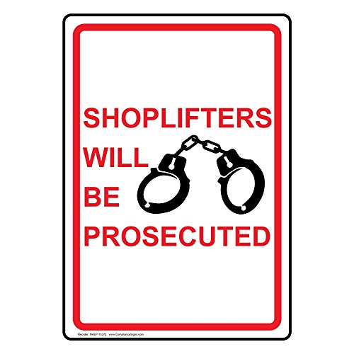 ComplianceSigns Vertical Vinyl Shoplifters Will Be Prosecuted Labels, 5 x 3.50 in. with English Text and Symbols, White, pack of 4 from ComplianceSigns