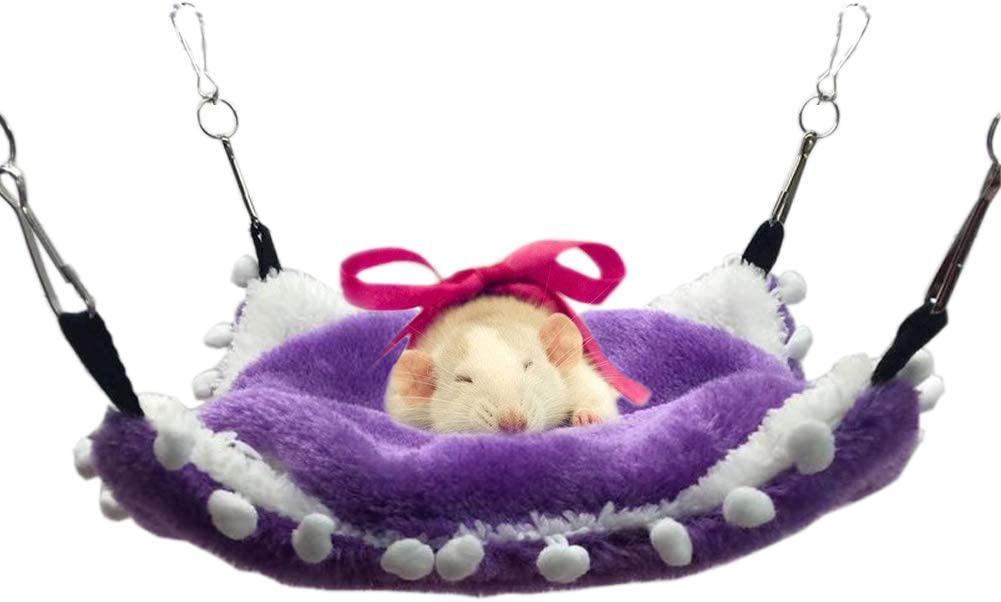 LeerKing Small Animals Cage Hammock Double Layers Coral Fleece Hideout/for/Guinea Pigs Ferrets Chinchilla Hamsters Hedgehogs Bunny Dwarf Hanging Bed,Purple