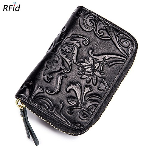 - HLBag Rfid Blocking Floral Embossed Genuine Leather Wallet Small for Women Card Case Organizer (Black)