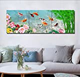 LB Chinese Style Painting Decor 3 Piece Canvas Print Wall Art With Frame,Peony and nine koi fishes swimming in pond Print Artwork for Living Room Bedroom Home Decoration
