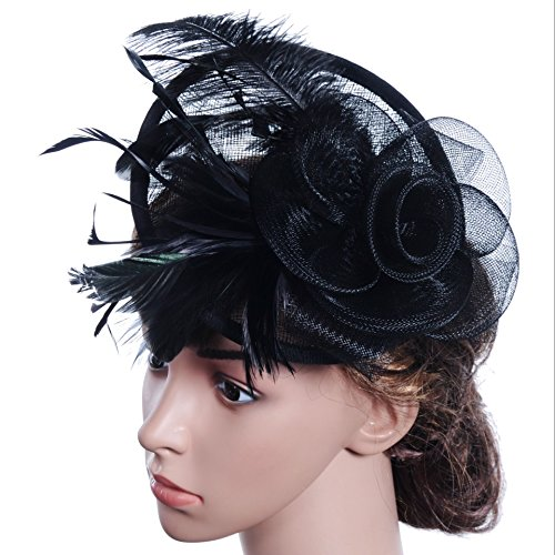 Lanzom Fascinator Hat Flower Feather Mesh Hat Party Bridal Wedding Derby Hat with Clip for Women Lady (Black, One Size) by Lanzom (Image #2)