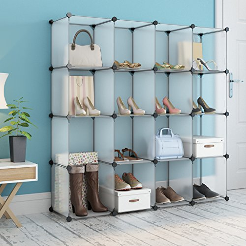 LANGRIA 16-cube DIY Plastic Shoe Rack Modular Shelving Storage Organizer Cabinet Translucent (Modular Storage Cabinet)