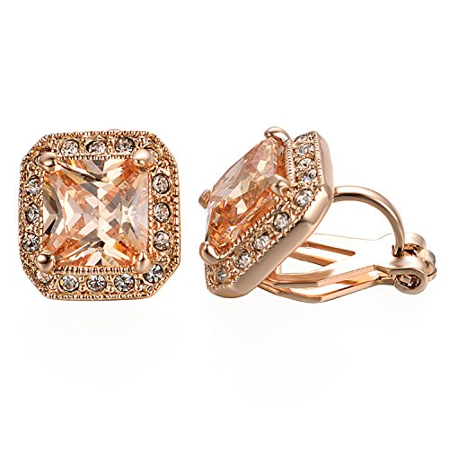 (Yoursfs Clip on Earrings Austrian Crystal Earrings 18K Rose Gold Plated Gold Square Earrings)