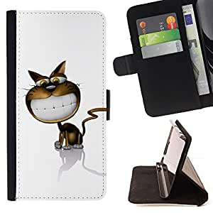 DEVIL CASE - FOR Samsung Galaxy S3 III I9300 - Cat Cartoon Comic Big Smile White Teeth Art - Style PU Leather Case Wallet Flip Stand Flap Closure Cover