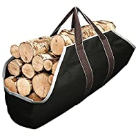Large Canvas Log Tote Bag Carrier Indoor Fireplace Firewood Totes Log Holders Round Woodpile Rack Fire Wood Carriers Carrying for Outdoor Tubular Birchwood Stand by Hearth Stove Tools Set Basket