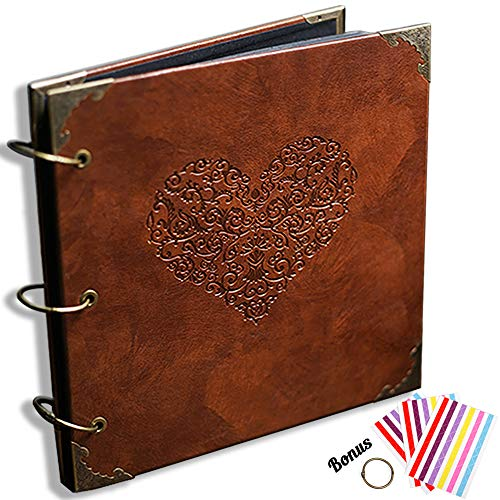 CenterZ Vintage Photo Album DIY Scrapbook - 10x10 inch 50 Pages Double Sided, PU Leather Cover Three-Ring Binder Picture Booth Albums with 6 Colors 306pcs Self Adhesive Photos Corners for Memory Keep (Binder Memories)
