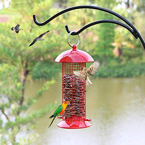 KOBWA Bird Feeder, Wild Bird Feeder Outdoor Garden Wrought Iron Painting Hanging Design with Seed Tray for Backyard, Outdoor, Garden 10x22cm
